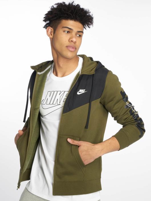 641cbd14fc3f4 Nike   Colorblock olive Homme Sweat capuche zippé 540525