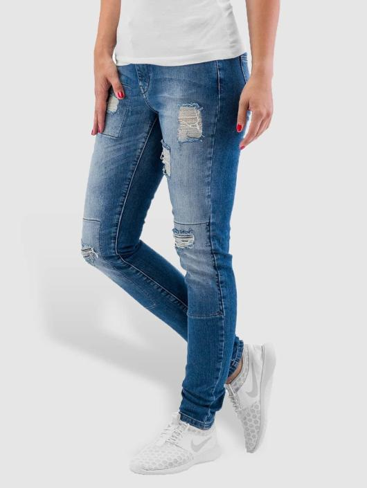 Noisy May Skinny Jeans nmLucy Super Slim Rip Patch blau