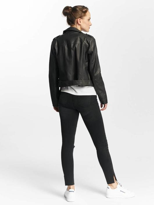 Only Lærjakke onlLuna Crop Faux Leather Biker svart