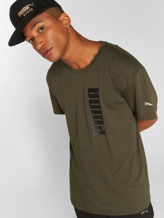 Puma Performance t-shirt Energy Triblend Graphic olijfgroen