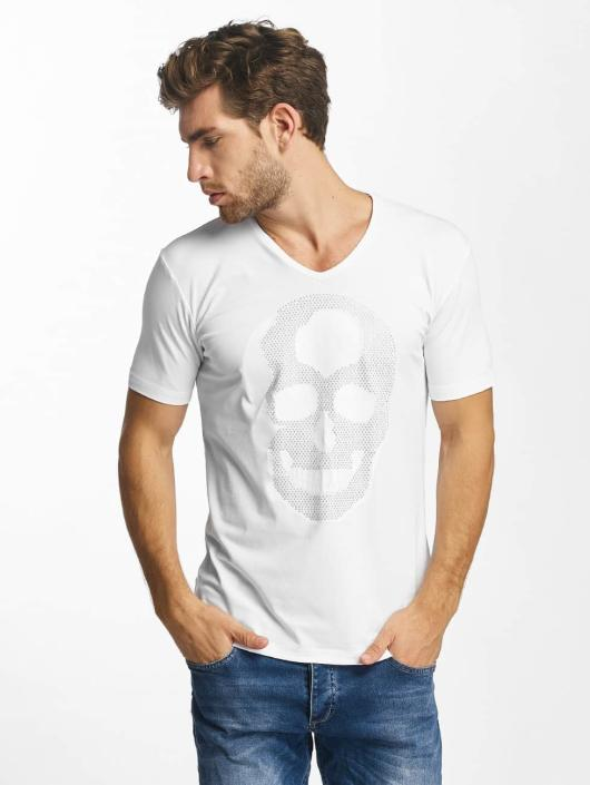 Red Bridge T-Shirt Rhinestone Skull blanc