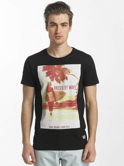 SHINE Original T-paidat Lupe Palm Print musta