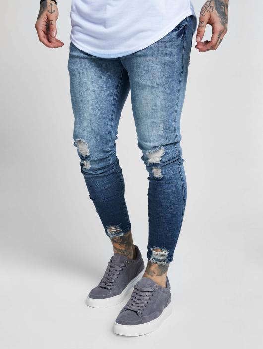 Sik Silk Slim Fit Jeans Jagged Hem blue