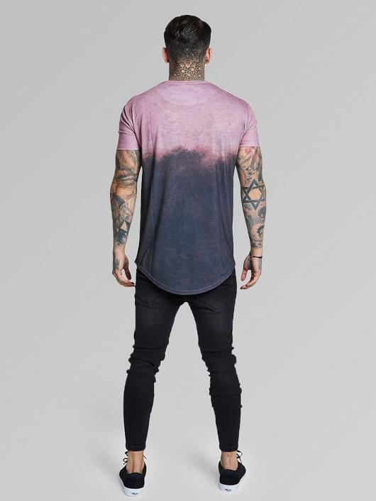 Sik Silk T-paidat Curved Hem Faded harmaa
