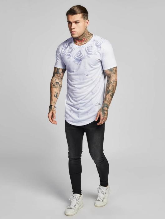 Sik Silk T-paidat Marble Rose Curved Hem valkoinen