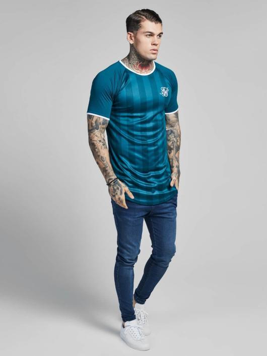 Sik Silk T-paidat Contrast Retro Stripe Gym vihreä