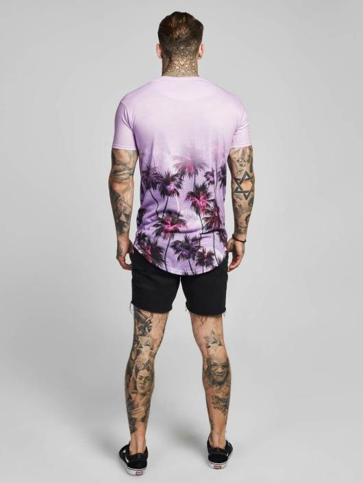 Sik Silk T-Shirt Palm Rework Curved Hem purple
