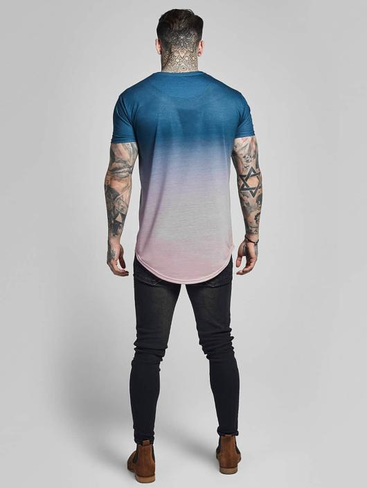 Sik Silk T-shirts Curved Hem Faded blå