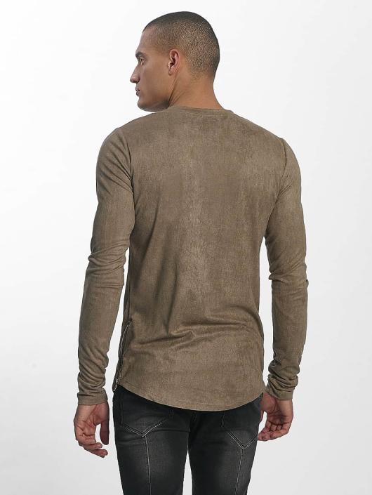 Sixth June Camiseta de manga larga Skinny Basic caqui