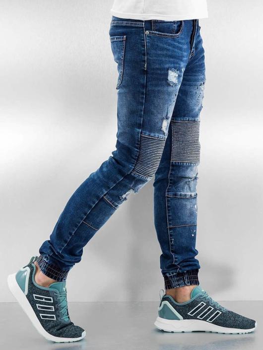 Sixth June Skinny Jeans Destroyed Biker blau