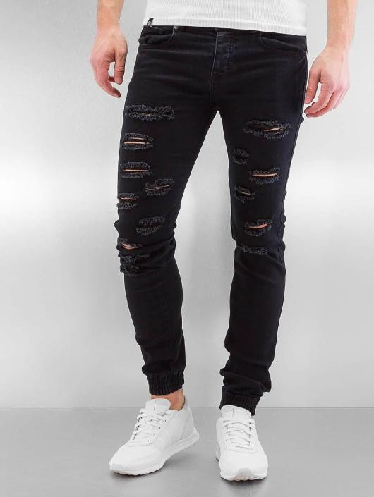 Sixth June Slim Fit Jeans Destroyed schwarz