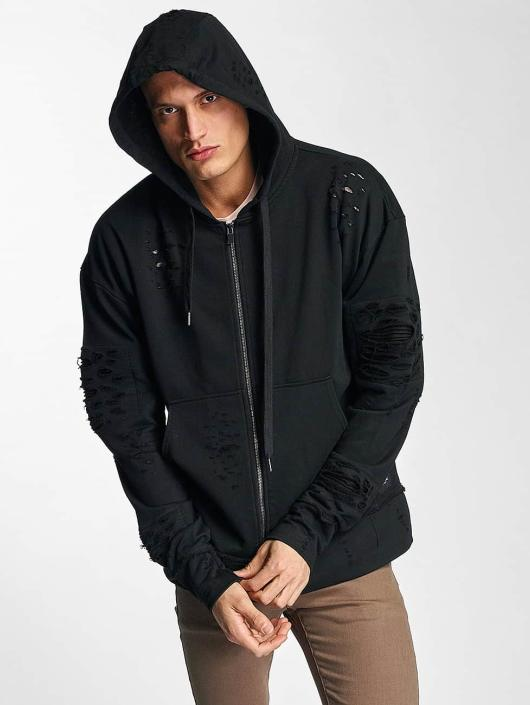 Sixth June Zip Hoodie Destroyed Zip Up black