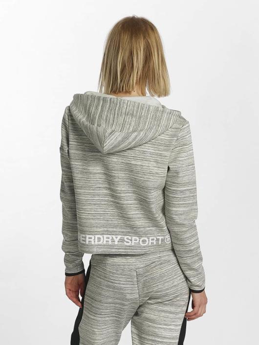 Superdry Hoody Sport Gym Technical Luxe Crop grijs