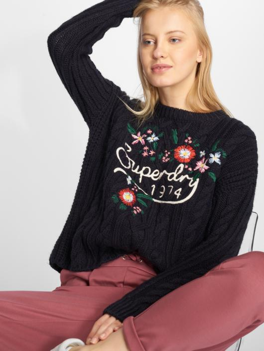 Superdry Floral Handcraft Cable Sweater Eclipse Navy