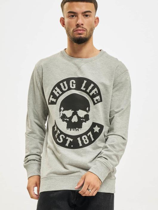 Thug Life Basic Pullover Skull grau