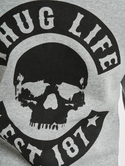 Thug Life Basic Zip Hoodie Skull grau