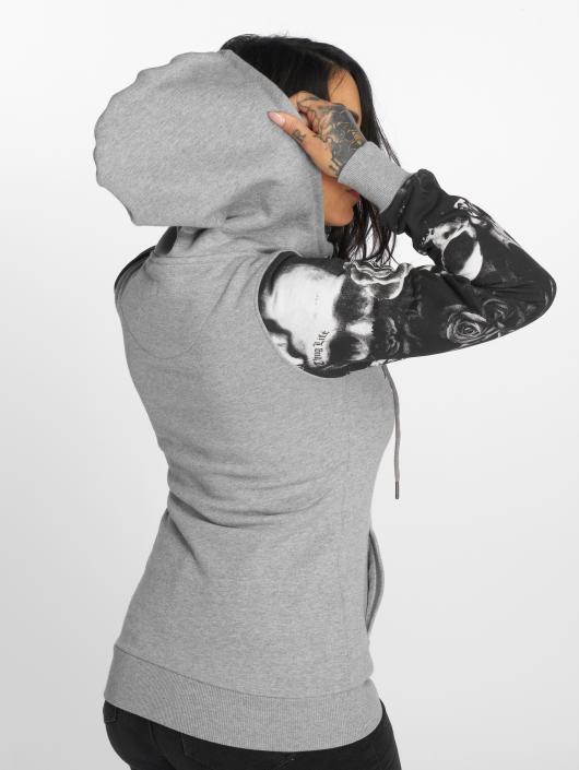 Thug Life Hoodie Skullpattern grey