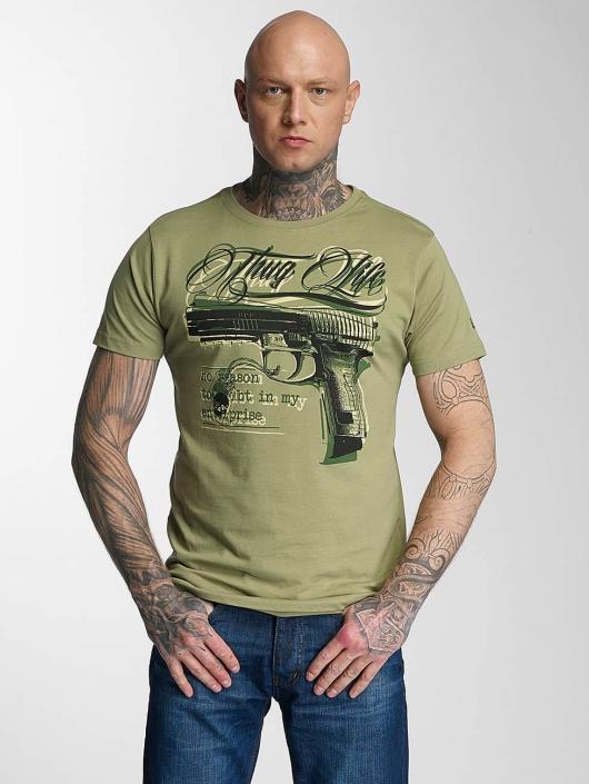 Thug Life T-Shirty No Reason oliwkowy