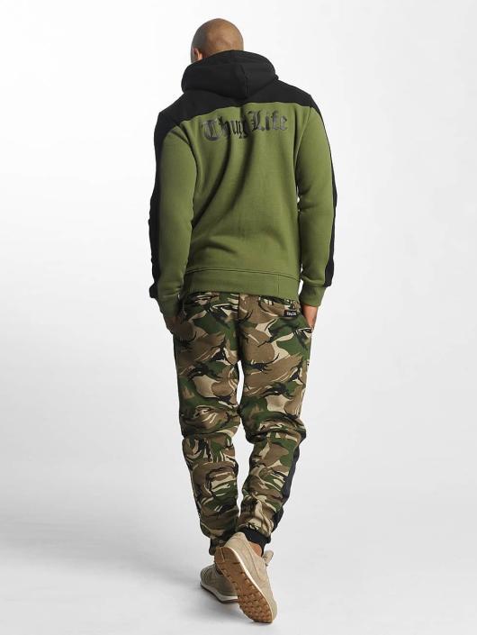 Thug Life Zip Hoodie Crock olive