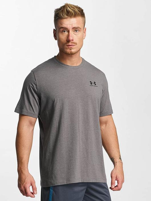 Under Armour T-Shirty Charged Cotton Left Chest Lockup szary