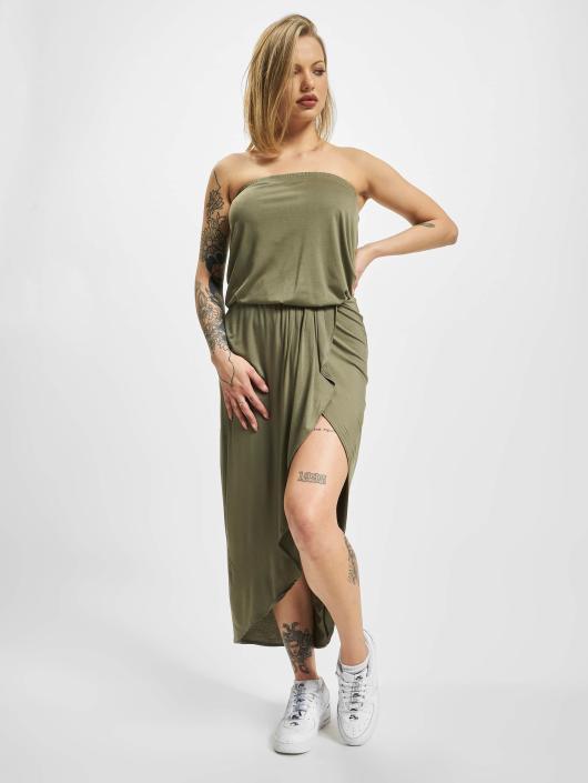 Urban Classics Šaty Ladies Viscose Bandeau olivová