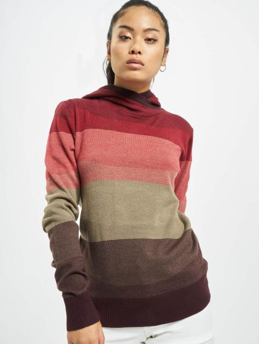 Urban Classics Bluzy z kapturem Multicolored High Neck czerwony