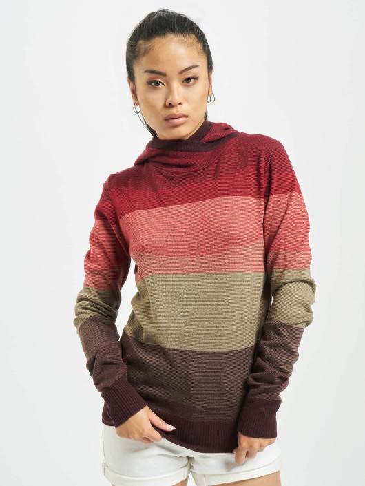 Urban Classics Bluzy z kapturem Multicolored High Neck czerwony