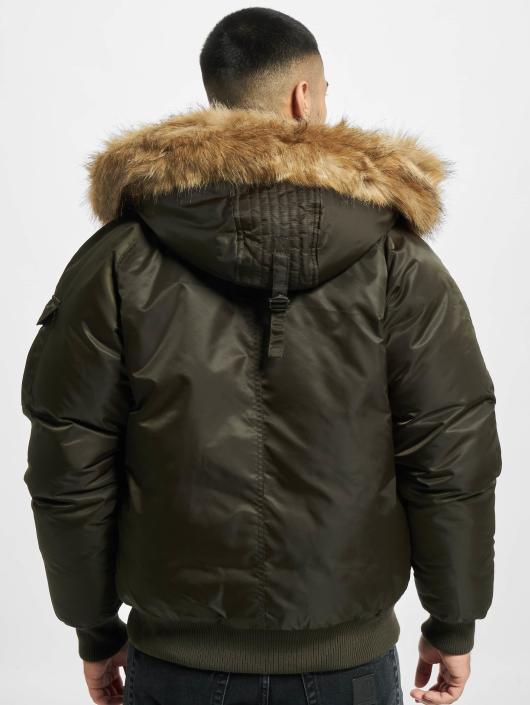 Urban Classics Bomberjack Hooded Heavy Fake Fur Bomber olijfgroen