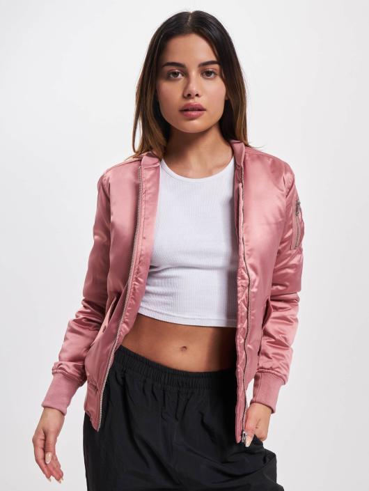 Urban Classics Ladies Satin Bomber Jacket Oldrose