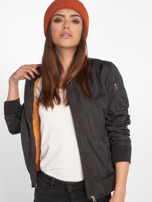 Urban Classics Ladies Nylon Twill Bomber Jacket BlackBlack