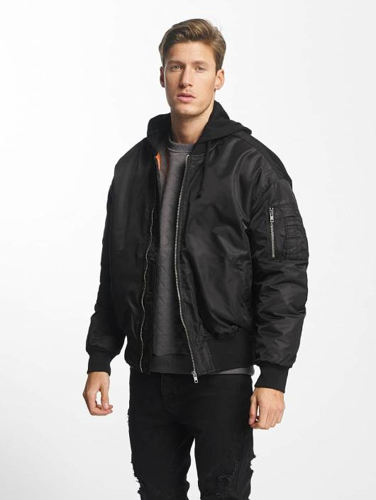 check out 3fe68 a79c6 Urban Classics Hooded Oversized Bomber Jacket Black/Black