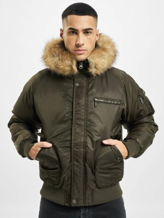 Urban Classics Bomberová bunda Hooded Heavy Fake Fur Bomber olivová