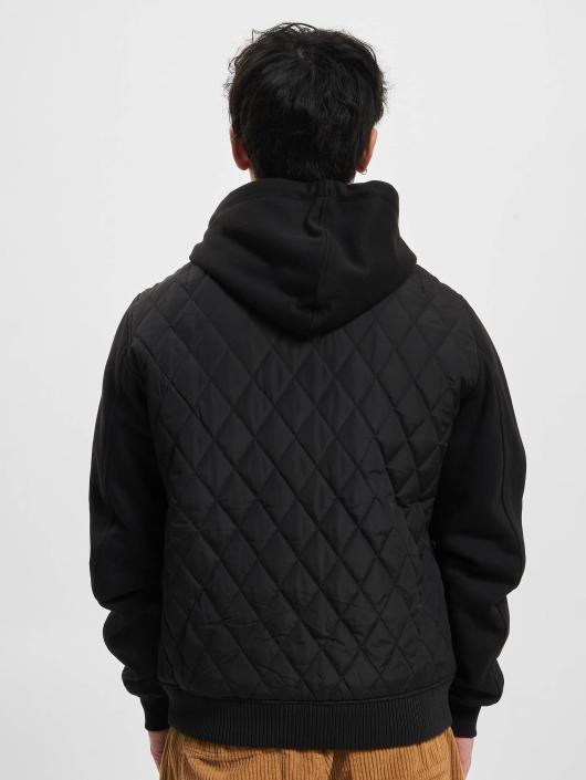 Urban Classics Bundy na přechodné roční období Hooded Diamond Quilt Nylon čern