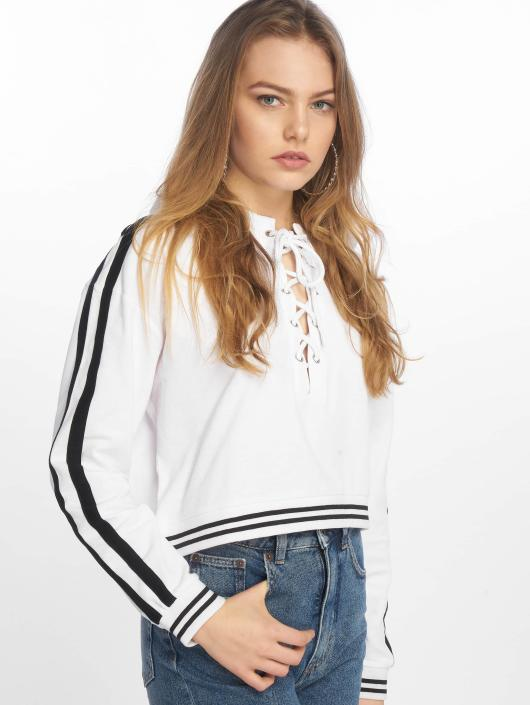 Urban Classics Hoodie Lace Up white
