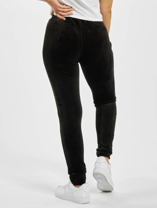 Urban Classics joggingbroek Ladies Velvet zwart