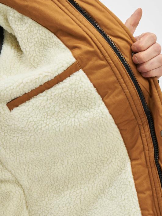 Urban Classics Kabáty Heavy Cotton Imitation Fur hnedá