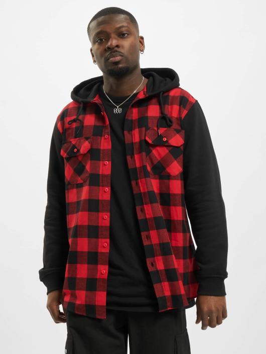 Urban Classics Koszule Hooded Checked Flanell Sweat Sleeve czerwony