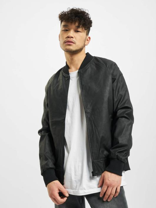 Urban Classics Leather Jacket Imitation Leather Raglan black