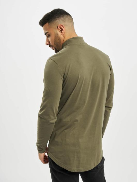Urban Classics Longsleeve Long Shaped Turtle Zip olive