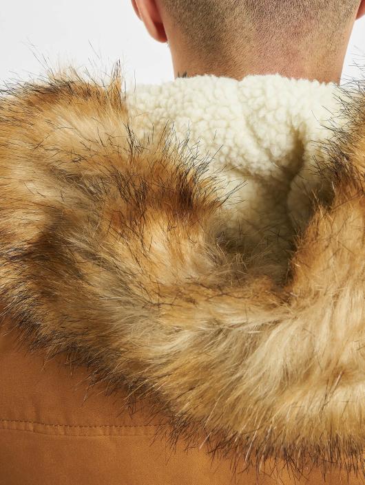 Urban Classics Manteau Heavy Cotton Imitation Fur brun