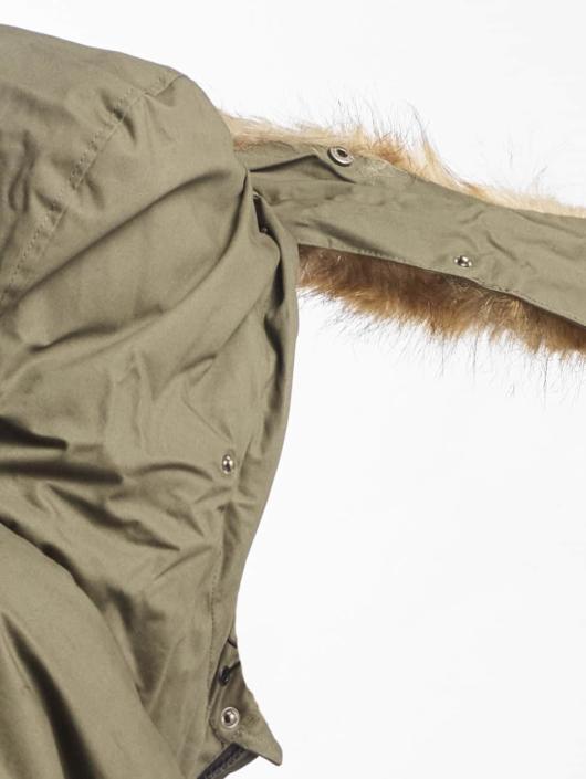 Urban Classics Manteau Heavy Cotton Imitation Fur olive