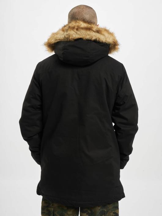 Urban Classics Płaszcze Heavy Cotton Imitation Fur czarny