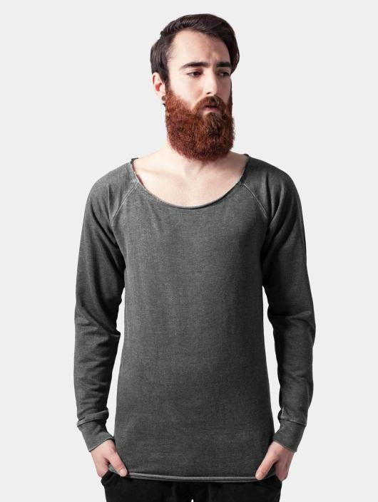 Urban Classics Pullover Long Burnout Open Edge grau