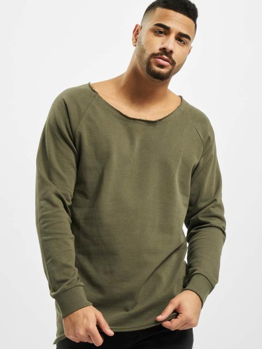 Urban Classics Pullover Long Open Edge Terry olive