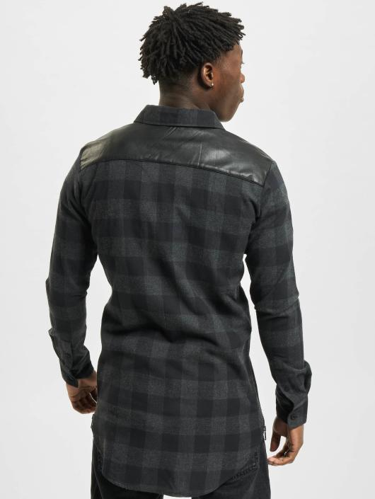 Urban Classics Shirt Side Zip Leather Shoulder Flanell black