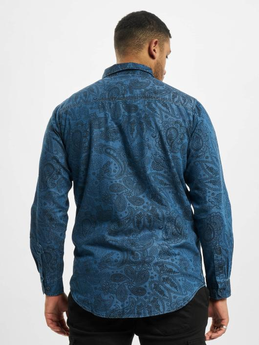 Urban Classics Shirt Printed Paisley Denim blue