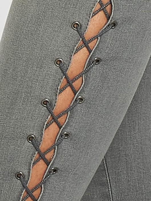 Urban Classics Skinny Jeans Lace Up Denim grau