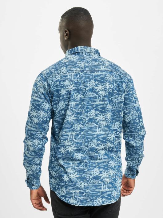 Urban Classics Skjorter Printed Palm Denim blå