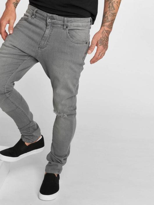 Urban Classics Slim Fit -farkut Knee Cut harmaa