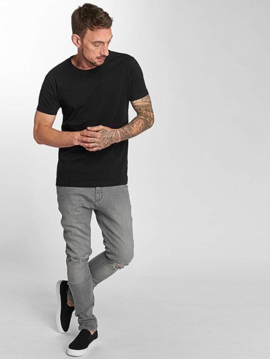 Urban Classics Slim Fit Jeans Knee Cut grau